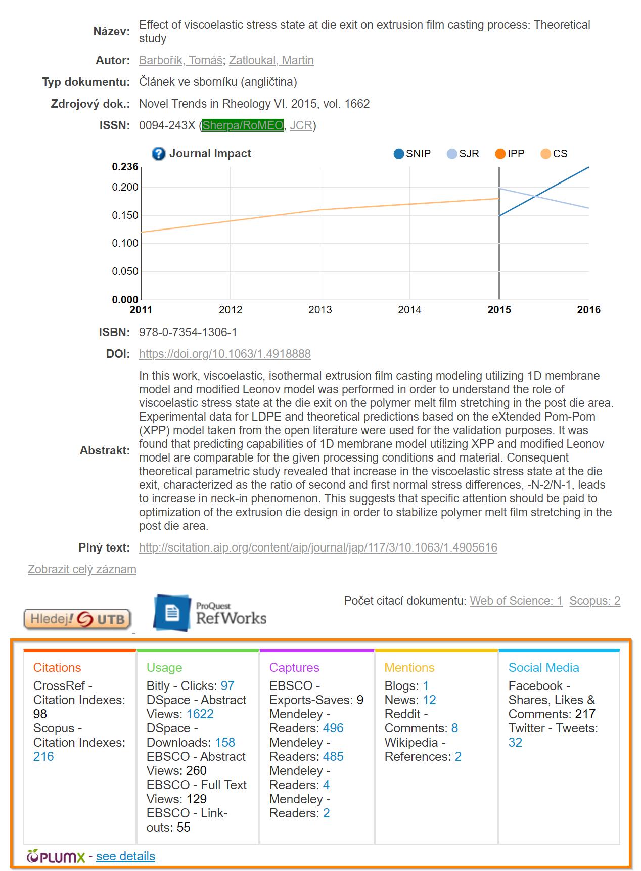 Ukázka widgetu PlumX v repozitáři K.UTB