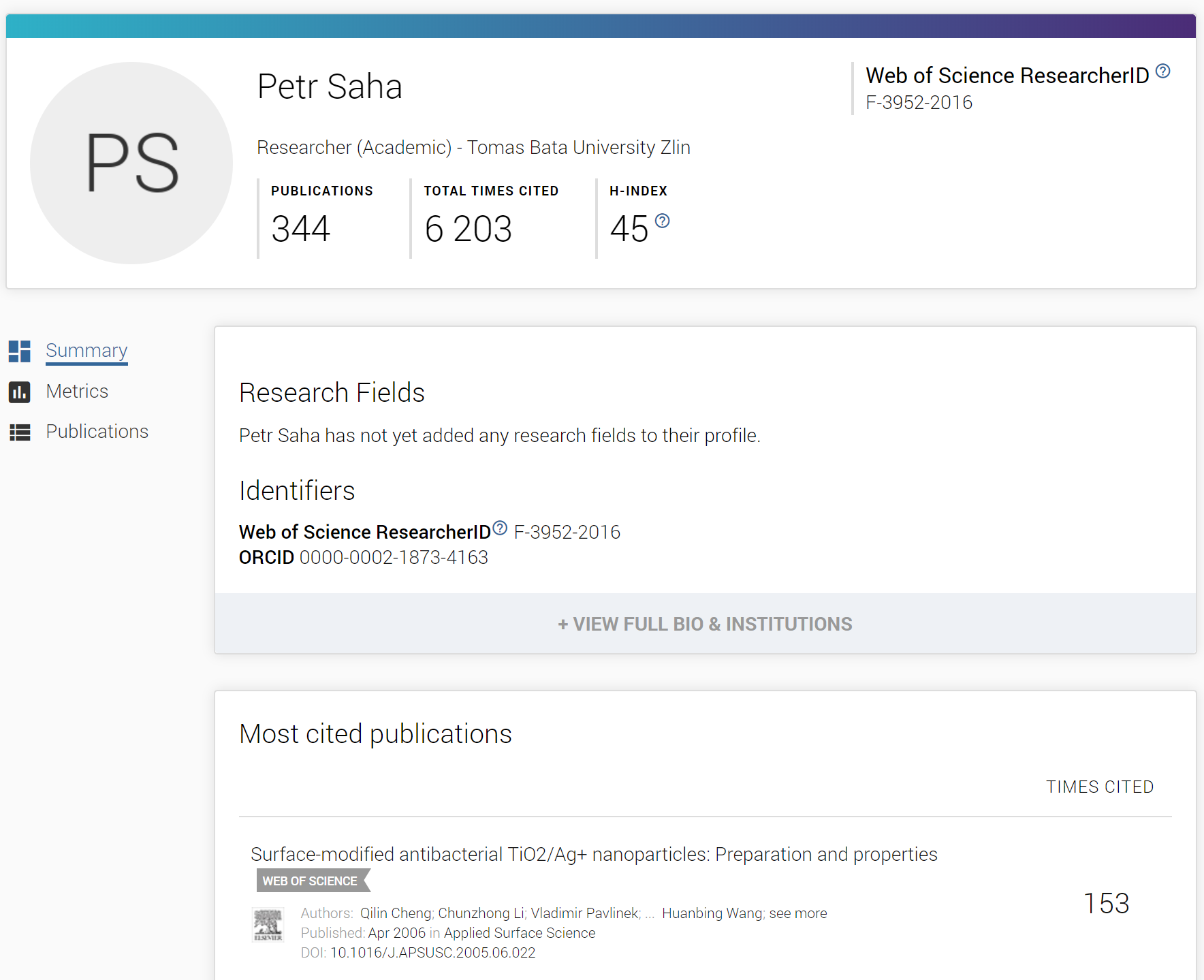 Example of ResearcherID profile on Publons