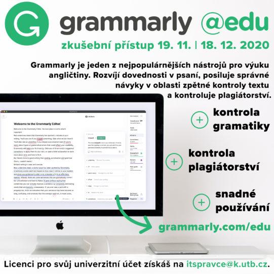 Zkušební přístup do Grammarly @edu do 18. prosince